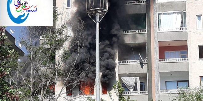 الحريق في ديار بكر 660x330 - بالفيديو : حريق ضخم يلتهم شقة سكنية بولاية ديار بكر