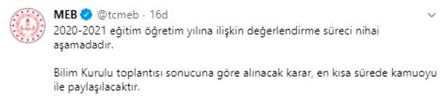 son dakika milli egitim bakanligi okullarin 13498912 7526 m - بيان هام من وزارة التربية التركية حول افتتاح المدارس في تركيا